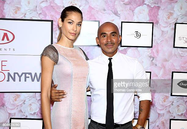Dayana Mendoza poses with Raul Penaranda at Kia STYLE360 Hosts Raul Penaranda Spring 2017 Momentum Fashion Show on September 13 2016 in New York City