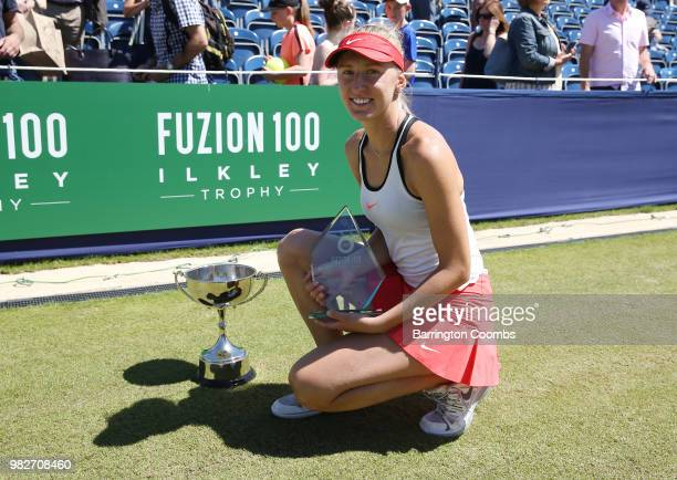 Dayana Yastremska of the Ukraine celebrates winning the Women's final on day Eight of the Fuzion 100 Ikley Trophy at Ilkley Lawn Tennis Squash Club...
