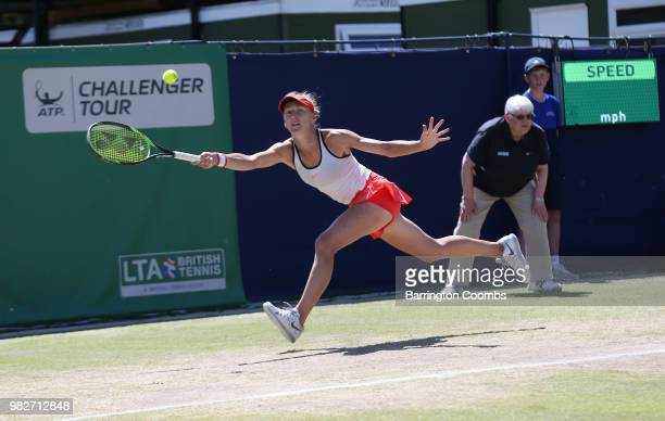 Dayana Yastremska of the Ukraine in action during the Women's final on day Eight of the Fuzion 100 Ikley Trophy at Ilkley Lawn Tennis Squash Club on...