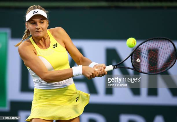Dayana Yastremska of the Ukraine plays a backhand against Daria Gavrilova of Australia during their womens singles first round match on day three of...