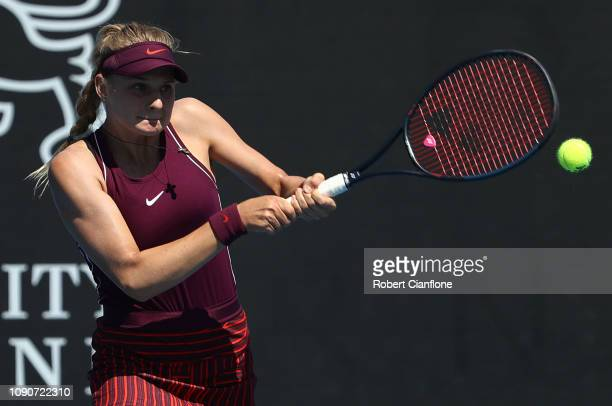 Dayana Yastremska of the Ukraine plays a shot during her singles match against Laura Siegemund of Germany during day three of the 2019 Hobart...