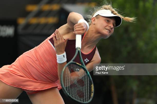 Dayana Yastremska of the Ukraine serves to Angelique Kerber of Germany during day four of the 2020 Adelaide International at Memorial Drive on...