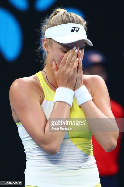 Dayana Yastremska of Ukraine celebrates after winning match point in her first round match against Samantha Stosur of Australia during day two of the...