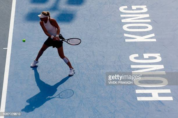 Dayana Yastremska of Ukraine hits a shot to Zhang Shuai of China during their women's singles semifinal match at the Hong Kong Open tennis tournament...