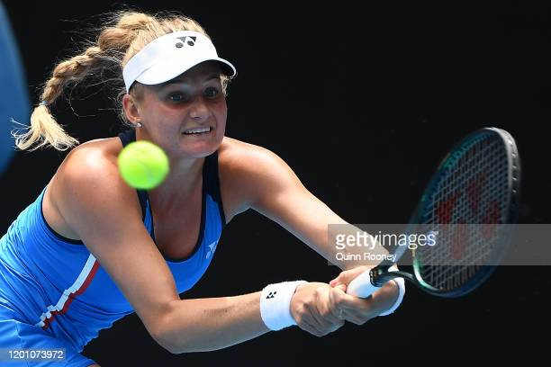 Dayana Yastremska of Ukraine plays a backhand during her Women's Singles second round match against Caroline Wozniacki of Denmark on day three of the...
