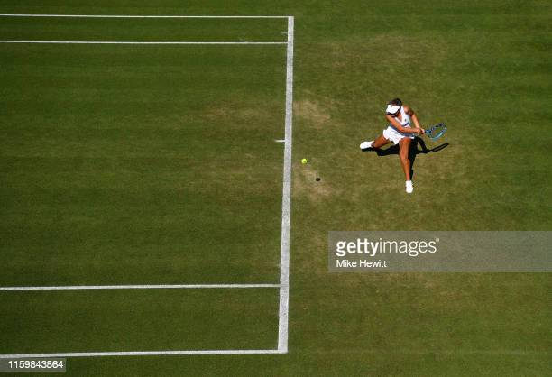 Dayana Yastremska of Ukraine plays a backhand in her Ladies' Singles second round match against Sofia Kenin of The United States during Day three of...