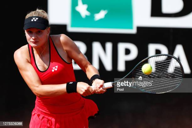 Dayana Yastremska of Ukraine plays a backhand in her round three match against Simona Halep of Romania during day five of the Internazionali BNL...