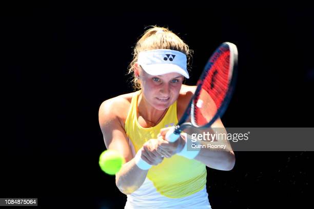 Dayana Yastremska of Ukraine plays a backhand in her third round match against Serena Williams of the United States during day six of the 2019...