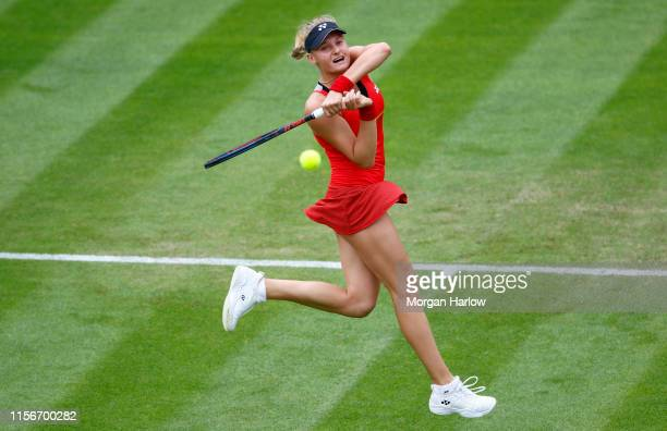 Dayana Yastremska of Ukraine plays a forehand during her first round match against Julia Goerges of Germany during day two of the Nature Valley...