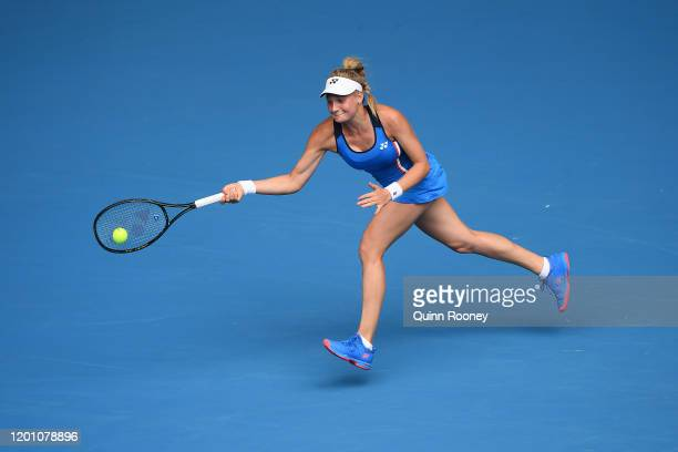 Dayana Yastremska of Ukraine plays a forehand during her Women's Singles second round match against Caroline Wozniacki of Denmark on day three of the...