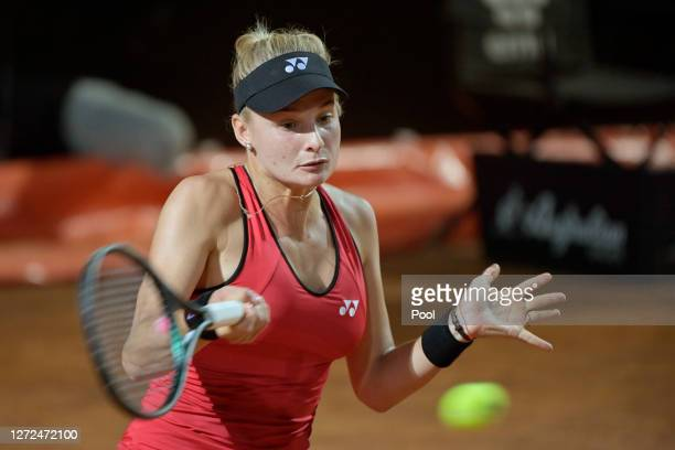 Dayana Yastremska of Ukraine plays a forehand in her round one match against Camila Giorgi of Italy during day one of the Internazionali BNL D'Italia...