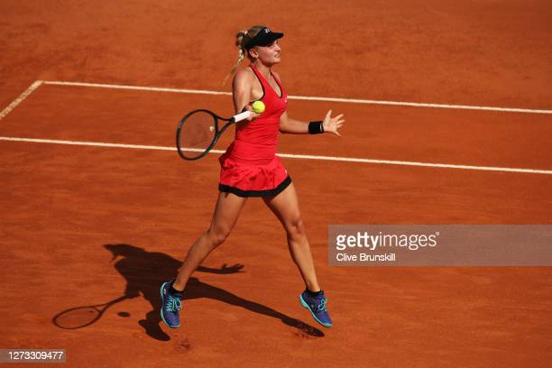 Dayana Yastremska of Ukraine plays a forehand in her round three match against Simona Halep of Romania during day five of the Internazionali BNL...