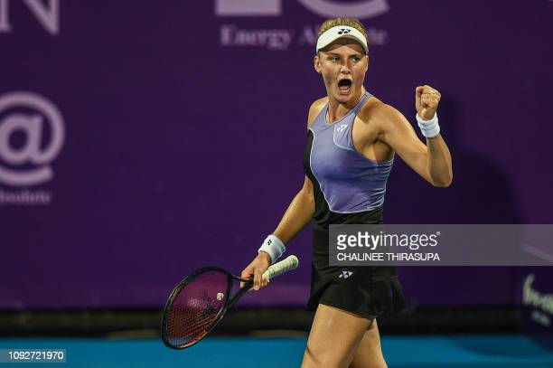 Dayana Yastremska of Ukraine reacts after a point against Magda Linette of Poland during their semifinal match at the Thailand Open tennis tournament...