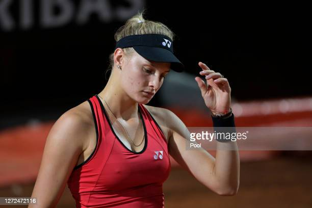 Dayana Yastremska of Ukraine reacts in her round one match against Camila Giorgi of Italy during day one of the Internazionali BNL D'Italia at Foro...