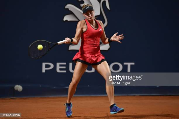 Dayana Yastremska of Ukraine returns a shot against Camila Giorgi of Italy during 31st Palermo Ladies Open Quarter Finals on August 07 2020 in...