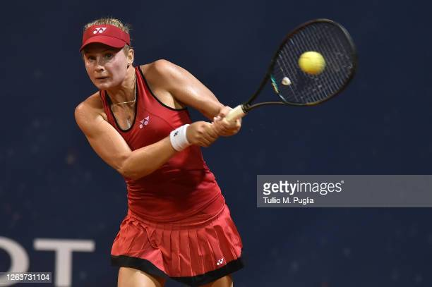 Dayana Yastremska of Ukraine returns a shot against Sara Sorribes Tormo of Spain during the 31st Palermo Ladies Open - Day One on August 03, 2020 in...
