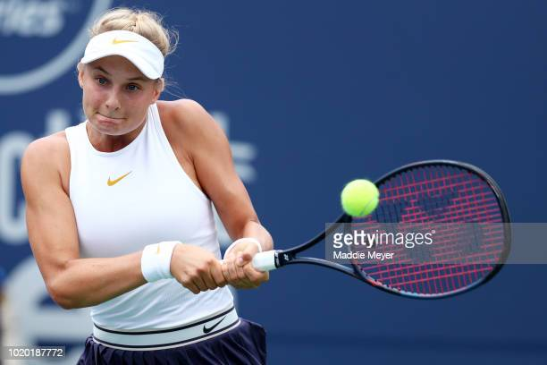 Dayana Yastremska of Ukraine returns a shot to Danielle Collins of the United States during Day 1 of the Connecticut Open at Connecticut Tennis...