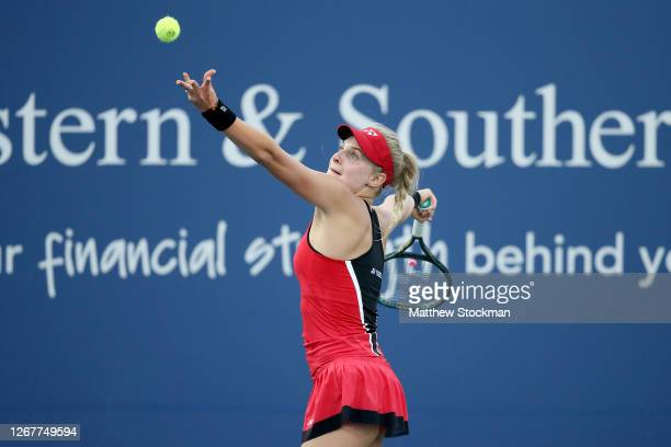 Dayana Yastremska of Ukraine serve to Venus Williams during the Western & Southern Open at the USTA Billie Jean King National Tennis Center on August...
