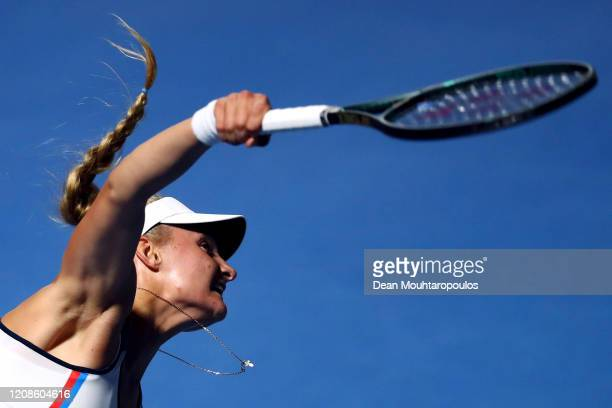 Dayana Yastremska of Ukraine serves against Sofia Kenin of USA during Day 3 of the WTA Qatar Total Open 2020 at Khalifa International Tennis and...