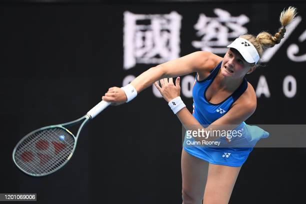 Dayana Yastremska of Ukraine serves during her Women's Singles second round match against Caroline Wozniacki of Denmark on day three of the 2020...