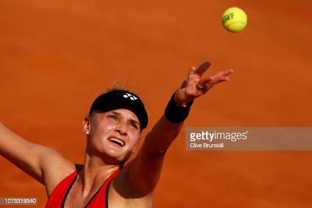 Dayana Yastremska of Ukraine serves in her round three match against Simona Halep of Romania during day five of the Internazionali BNL d'Italia at...