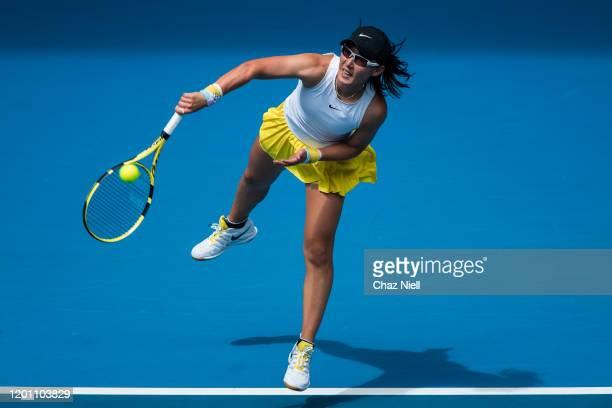 Dayana Yastremska of Ukraine serves in her second round match against Caroline Wozniacki of Denmark on day three of the 2020 Australian Open at...