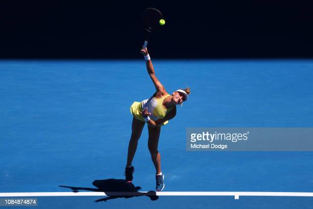Dayana Yastremska of Ukraine serves in her third round match against Serena Williams of the United States during day six of the 2019 Australian Open...