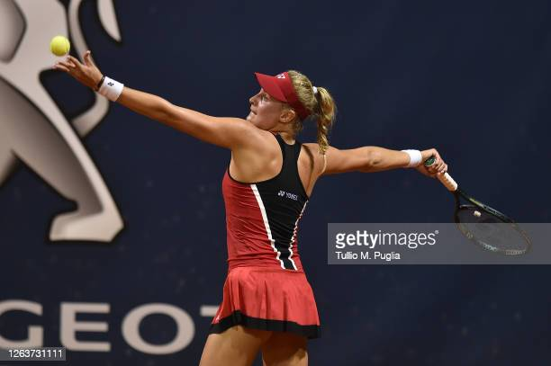 Dayana Yastremska of Ukraine serves to Sara Sorribes Tormo of Spain during the 31st Palermo Ladies Open Day One on August 03 2020 in Palermo Italy