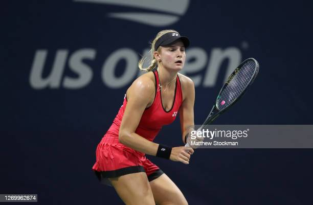 Dayana Yastremska of Ukraine waits for a volley during her Women's Singles first round match against Astra Sharma of Australia on Day One of the 2020...
