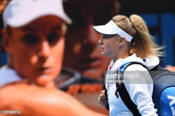 Dayana Yastremska of Ukraine walks onto court ahead of her Women's Singles second round match against Caroline Wozniacki of Denmark on day three of...