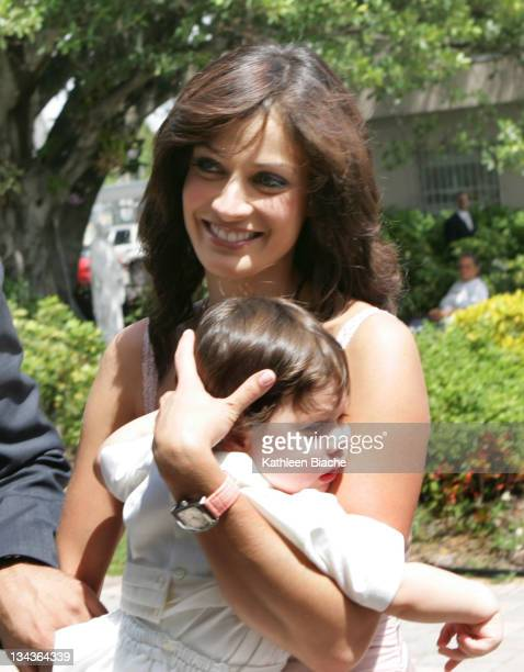 Dayanara Torres and her son during The Baptism of Marc Anthony and Dayanara Torres' Son at St Agatha Church in Miami Florida United States