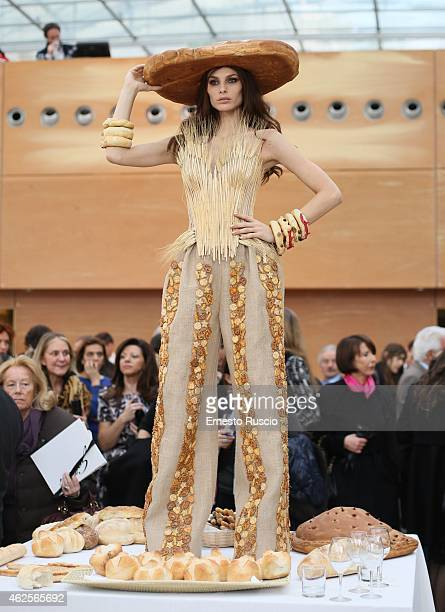 Dayane Mello poses during the Gattinoni fashion show as a part of AltaRoma 2015 at Palazzo Delle Esposizioni on January 31 2015 in Rome Italy