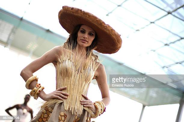 Dayane Mello poses during the Gattinoni fashion show as a part of AltaRoma 2015 at Palazzo Delle Esposizioni on January 31, 2015 in Rome, Italy.