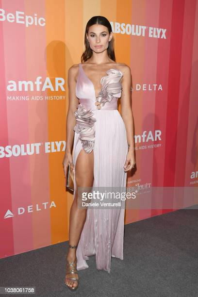 Dayane Mello walks the red carpet ahead of amfAR Gala at La Permanente on September 22, 2018 in Milan, Italy.