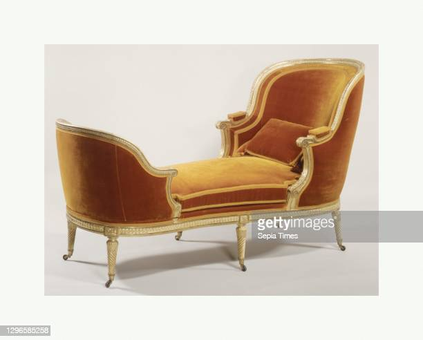 Daybed , Jean-Baptiste II Lelarge French, Carved and gilded beechwood, silk velvet upholstery, brass casters, Overall: 76 3/4 × 30 3/4 × 41 3/8 in. ,...