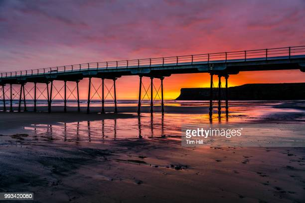 daybreak at saltburn by-the-sea - saltburn stock photos and pictures