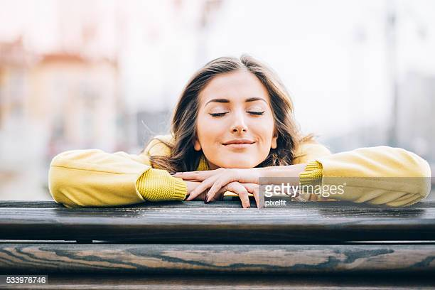 daydreaming and enjoying the sunlight - taking a break stock photos and pictures