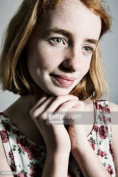 daydreaming girl with freckles - wishful skin stock pictures, royalty-free photos & images