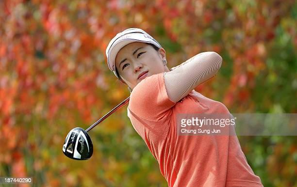 DaYe Na of South Korea hits a tee shot during the second round of the Mizuno Classic at Kintetsu Kashikojima Country Club on November 9 2013 in Shima...