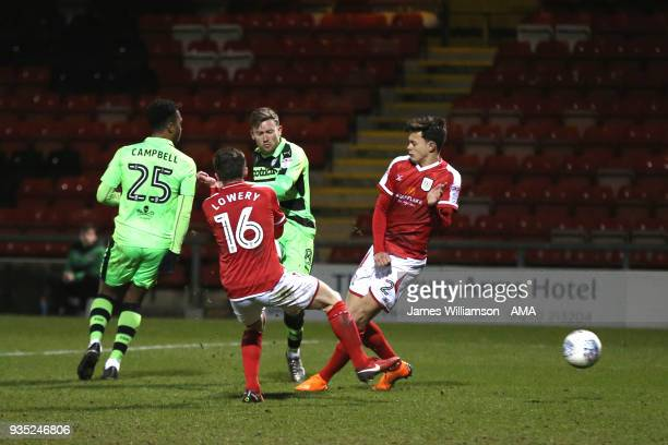 Dayle Grubb of Forest Green Rovers scores a goal to make it 13 during the Sky Bet League Two match between Crewe Alexandra and Forest Green Rovers at...