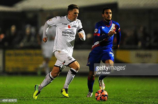 Dayle Grubb of WestonSuperMare in action during the FA Cup First Round match between WestonSuperMare and Doncaster Rovers on November 18 2014 in...