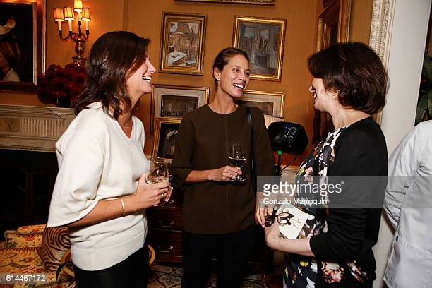 Dayle Haddon Kelly Burns and Christy Turlington Burns at the WomenOne Dinner on October 13 2016 in New York City
