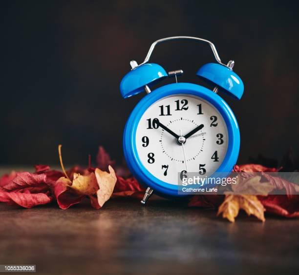 daylight savings time. clocks fall back - cambio horario fotografías e imágenes de stock
