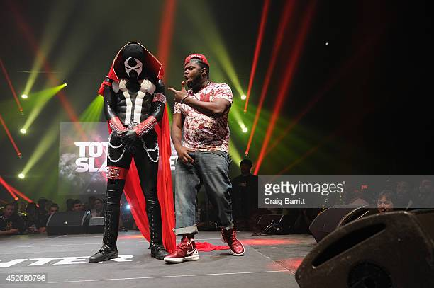 Daylyt and T Rex compete at Total Slaughter, hosted by Shady Films and WatchLOUD.com at Hammerstein Ballroom on July 12, 2014 in New York City.