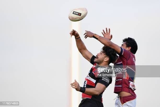 Daymon Leaseasu of Counties and Charles Alaimalo of Southland compete for a lineout during the round 7 Mitre 10 Cup match between Southland and...