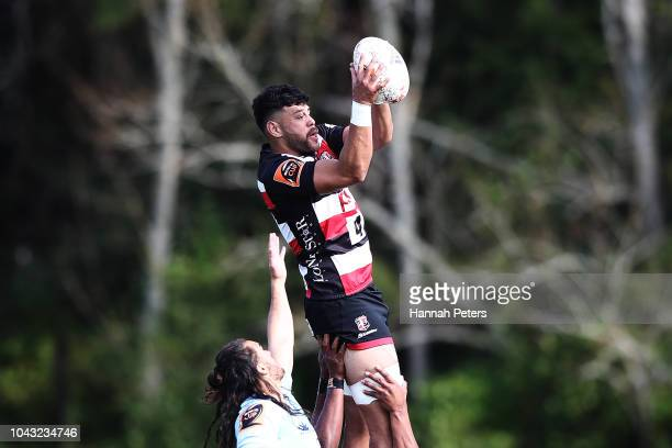 Daymon Leasuasu of Counties Manukau wins lineout ball during the round seven Mitre 10 Cup match between Counties Manakau and Northland at Navigation...