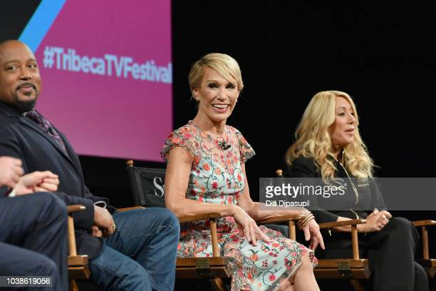 Daymond John Barbara Corcoran and Lori Greiner speak onstage at the Tribeca Talks Panel 10 Years Of Shark Tank during the 2018 Tribeca TV Festival at...