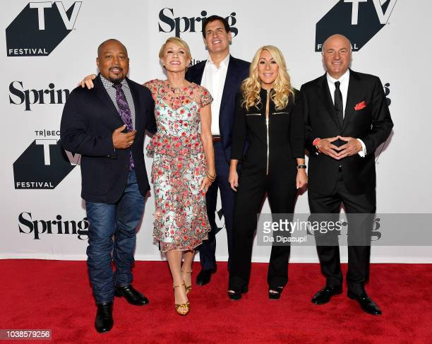 Daymond John Barbara Corcoran Mark Cuban Lori Greiner and Kevin O'Leary attend the Tribeca Talks Panel 10 Years Of Shark Tank during the 2018 Tribeca...