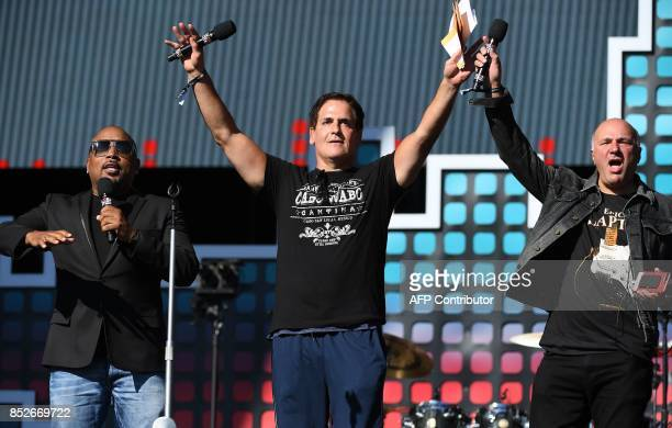 Daymond John Mark Cuban and Kevin O'Leary speak onstage during the 2017 Global Citizen Festival For Freedom For Justice For All in Central Park on...