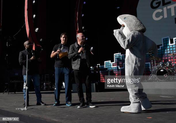 Daymond John Mark Cuban Kevin O'Leary and Kal Penn speak onstage during the 2017 Global Citizen Festival For Freedom For Justice For All in Central...